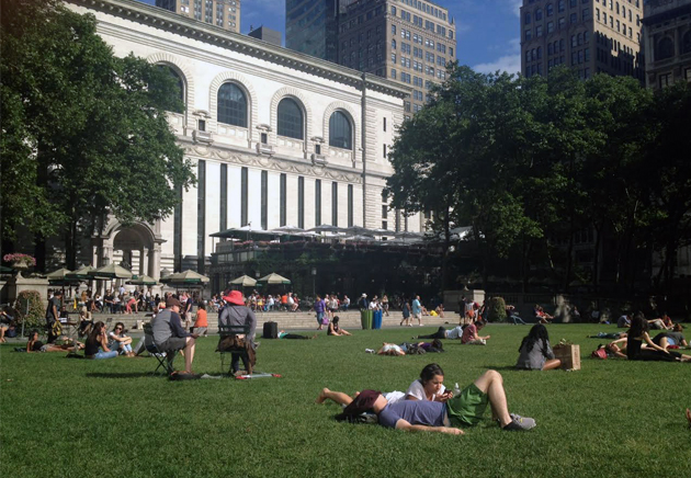 Studying in Bryant Park